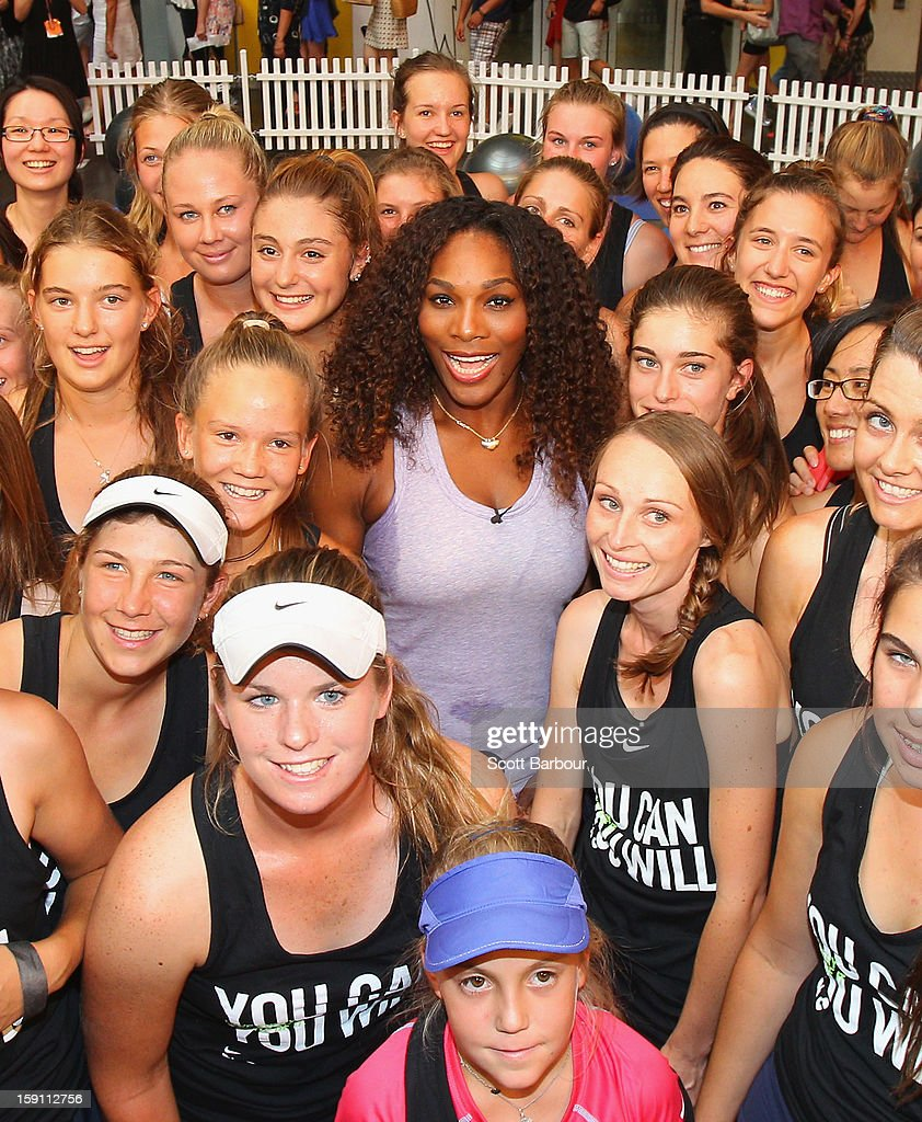 <a gi-track='captionPersonalityLinkClicked' href=/galleries/search?phrase=Serena+Williams&family=editorial&specificpeople=171101 ng-click='$event.stopPropagation()'>Serena Williams</a> of the USA poses with fans during the launch of her Nike Training Club app workout on January 8, 2013 in Melbourne, Australia.