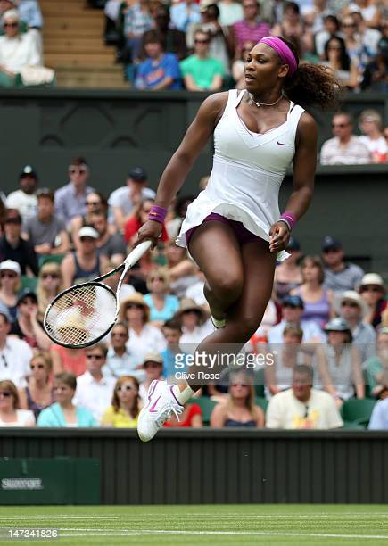 Serena Williams of the USA reacts to a play during her Ladies' Singles second round match against Melinda Czink of Hungry on day four of the...