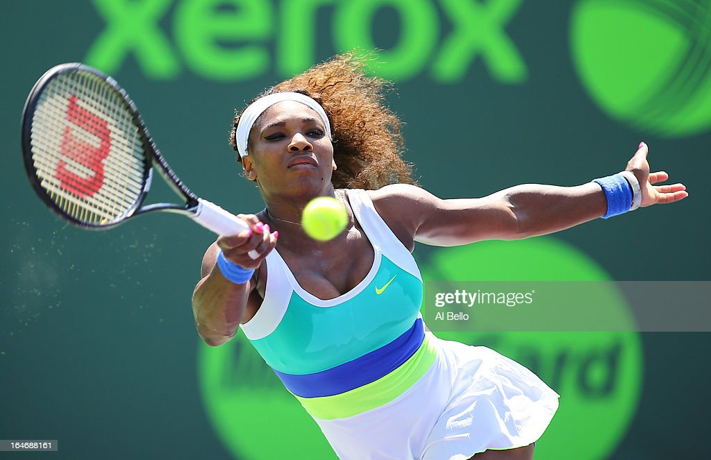 Serena Williams of the USA returns a shot against Na Li of China during Day 9 of the Sony Open at the Crandon Park Tennis Center on March 26, 2013 in Key Biscayne, Florida.