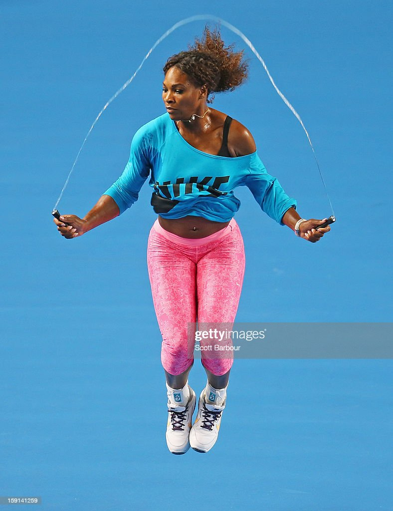 <a gi-track='captionPersonalityLinkClicked' href=/galleries/search?phrase=Serena+Williams+-+Tennis+Player&family=editorial&specificpeople=171101 ng-click='$event.stopPropagation()'>Serena Williams</a> of the USA skips rope during a practice session ahead of the 2013 Australian Open at Melbourne Park on January 9, 2013 in Melbourne, Australia.