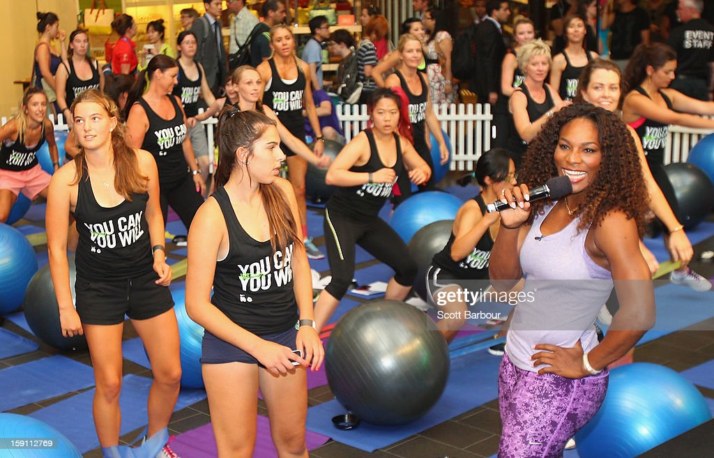 <a gi-track='captionPersonalityLinkClicked' href=/galleries/search?phrase=Serena+Williams&family=editorial&specificpeople=171101 ng-click='$event.stopPropagation()'>Serena Williams</a> of the USA speaks during the launch of her Nike Training Club app workout on January 8, 2013 in Melbourne, Australia.