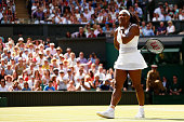 Serena Williams of United States celebrates after winning the Final of the Ladies Singles against Garbine Muguruza of Spain during the day twelve of...