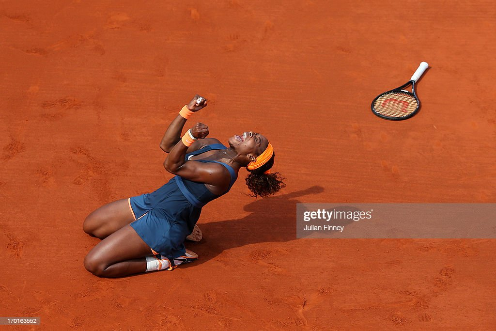 <a gi-track='captionPersonalityLinkClicked' href=/galleries/search?phrase=Serena+Williams+-+Tennis+Player&family=editorial&specificpeople=171101 ng-click='$event.stopPropagation()'>Serena Williams</a> of United States of America celebrates match point in her Women's Singles Final match against Maria Sharapova of Russia during day fourteen of French Open at Roland Garros on June 8, 2013 in Paris, France.