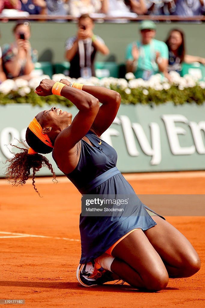 Serena Williams of United States of America celebrates match point in her Women's Singles Final match against Maria Sharapova of Russia during day fourteen of French Open at Roland Garros on June 8, 2013 in Paris, France.