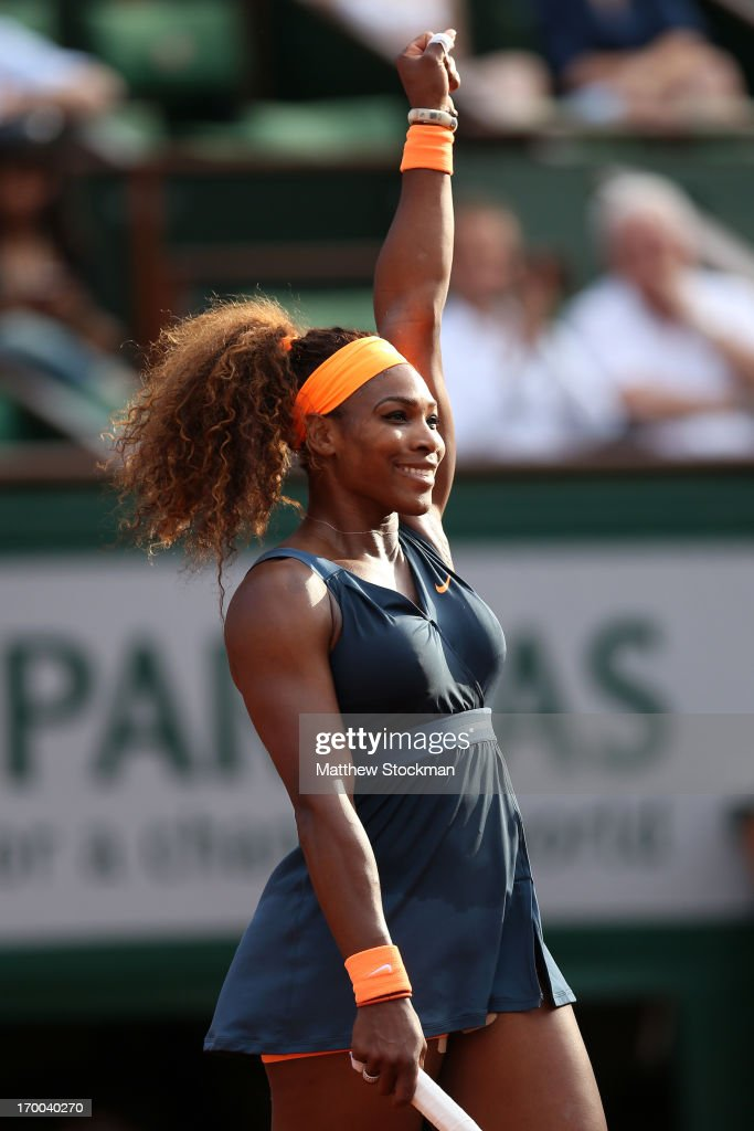 <a gi-track='captionPersonalityLinkClicked' href=/galleries/search?phrase=Serena+Williams+-+Tennis+Player&family=editorial&specificpeople=171101 ng-click='$event.stopPropagation()'>Serena Williams</a> of United States of America celebrates match point womens' singles semi-final match against Sara Errani of Italy during day twelve of the French Open at Roland Garros on June 6, 2013 in Paris, France.