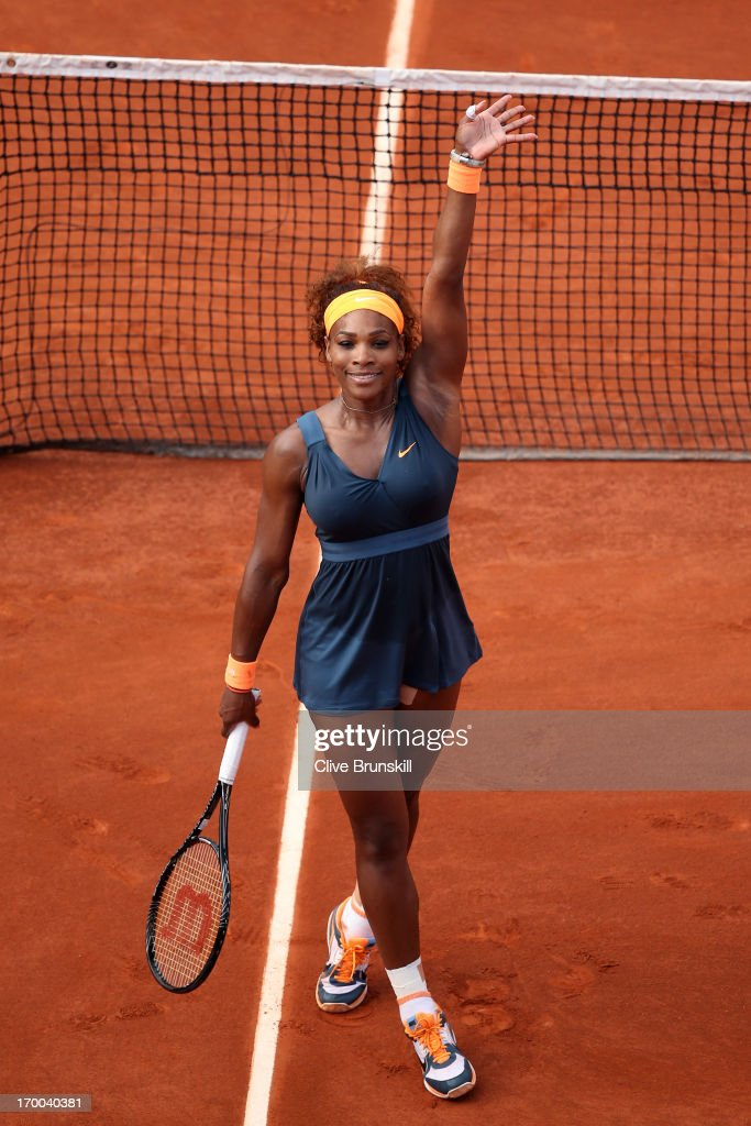 <a gi-track='captionPersonalityLinkClicked' href=/galleries/search?phrase=Serena+Williams&family=editorial&specificpeople=171101 ng-click='$event.stopPropagation()'>Serena Williams</a> of United States of America celebrates match point womens' singles semi-final match against Sara Errani of Italy during day twelve of the French Open at Roland Garros on June 6, 2013 in Paris, France.