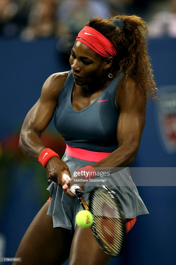Serena Williams of United States of America plays a backhand during her women's singles quarter-final match against Carla Suarez Navarro of Spain on Day Nine of the 2013 US Open at USTA Billie Jean King National Tennis Center on September 3, 2013 in the Flushing neighborhood of the Queens borough of New York City.