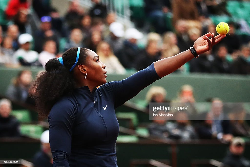 <a gi-track='captionPersonalityLinkClicked' href=/galleries/search?phrase=Serena+Williams&family=editorial&specificpeople=171101 ng-click='$event.stopPropagation()'>Serena Williams</a> of United States plays a shot during the Women's Singles first round match against Magdalena Rybarikova of Slovinia on day three of the 2016 French Open at Roland Garros on May 24, 2016 in Paris, France .