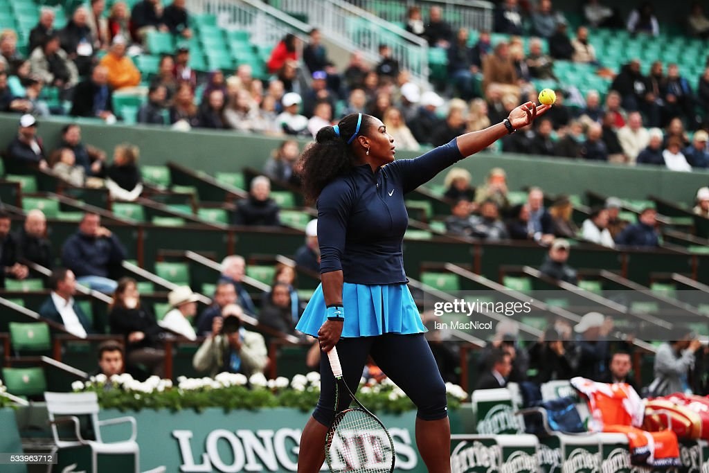 Serena Williams of United States plays a shot during the Women's Singles first round match against Magdalena Rybarikova of Slovinia on day three of the 2016 French Open at Roland Garros on May 24, 2016 in Paris, France .