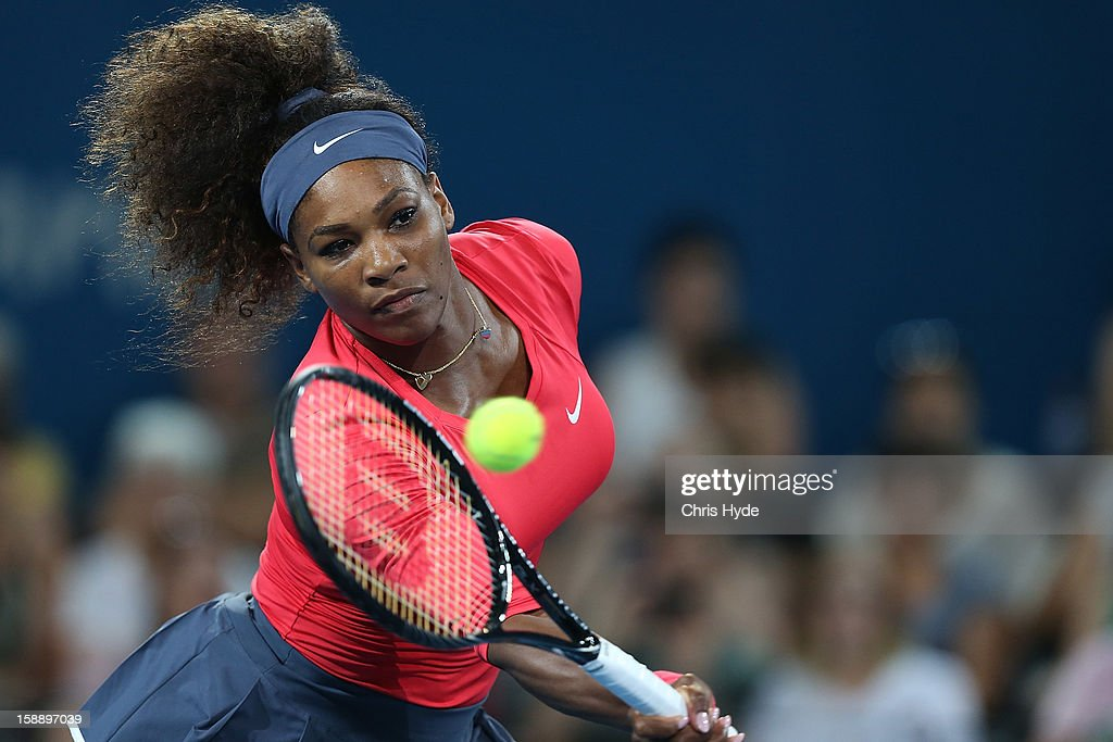 <a gi-track='captionPersonalityLinkClicked' href=/galleries/search?phrase=Serena+Williams+-+Tennis+Player&family=editorial&specificpeople=171101 ng-click='$event.stopPropagation()'>Serena Williams</a> of United States plays a volley during her match against Sloane Stephens of United States on day five of the Brisbane International at Pat Rafter Arena on January 3, 2013 in Brisbane, Australia.