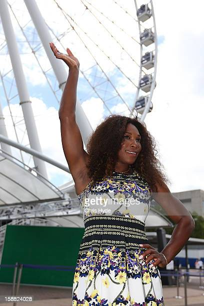 Serena Williams of United States poses for a photograph during a visit to the Wheel of Brisbane in South Bank on day two of the Brisbane...