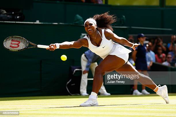Serena Williams of United States stretches for a forehand in the Final of the Ladies Singles against Garbine Muguruza of Spain during the day twelve...