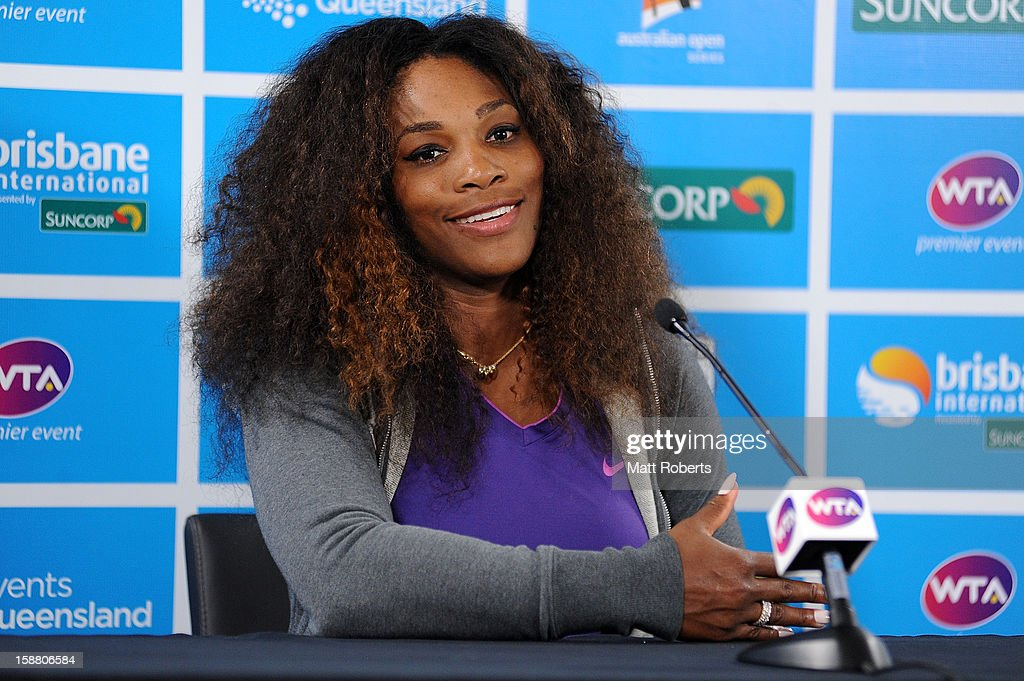 <a gi-track='captionPersonalityLinkClicked' href=/galleries/search?phrase=Serena+Williams&family=editorial&specificpeople=171101 ng-click='$event.stopPropagation()'>Serena Williams</a> of United States talks to media after winning her match against Varvara Lepchenko of United States during day one of the Brisbane International at Pat Rafter Arena on December 30, 2012 in Brisbane, Australia.