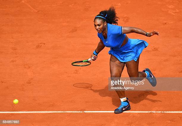 Serena Williams of US returns to Kristina Mladenovic of France during the women's single third round match at the French Open tennis tournament at...