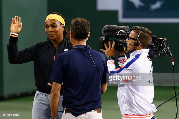 Serena Williams of USA announces her retirement with an injury before her semi final match against Simona Halep of Romania during day twelve of the...