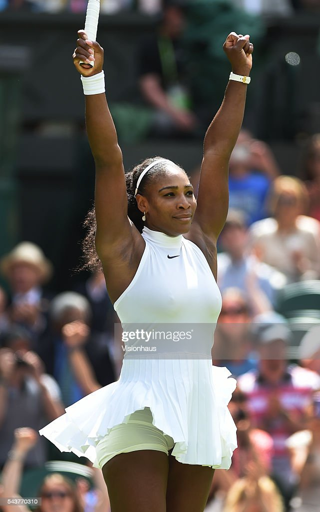 <a gi-track='captionPersonalityLinkClicked' href=/galleries/search?phrase=Serena+Williams+-+Tennis+Player&family=editorial&specificpeople=171101 ng-click='$event.stopPropagation()'>Serena Williams</a> of USA celebrates victory after her first round match against Amra Sadikovic of Switzerland at Wimbledon on June 28, 2016 in London, England.