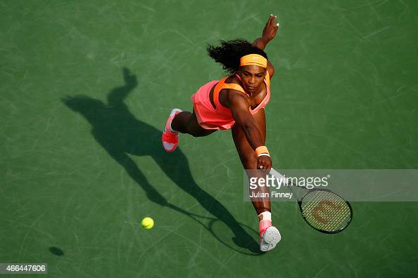 Serena Williams of USA in action against Zarina Diyas of Kazakhstan during day seven of the BNP Paribas Open tennis at the Indian Wells Tennis Garden...