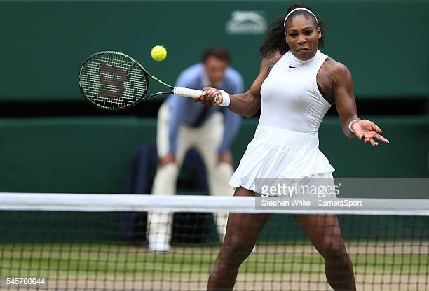 Serena Williams of USA in action during her victory over Angelique Kerber of Germany in their Ladies' Singles Final match on day twelve of the...