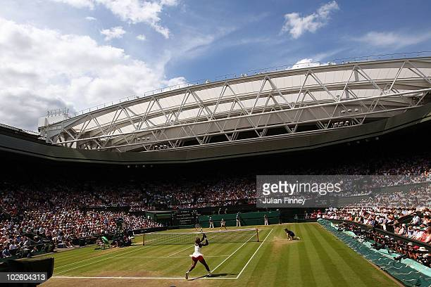 Serena Williams of USA in action during the Ladies Singles Final Match against Vera Zvonareva of Russia on Day Twelve of the Wimbledon Lawn Tennis...