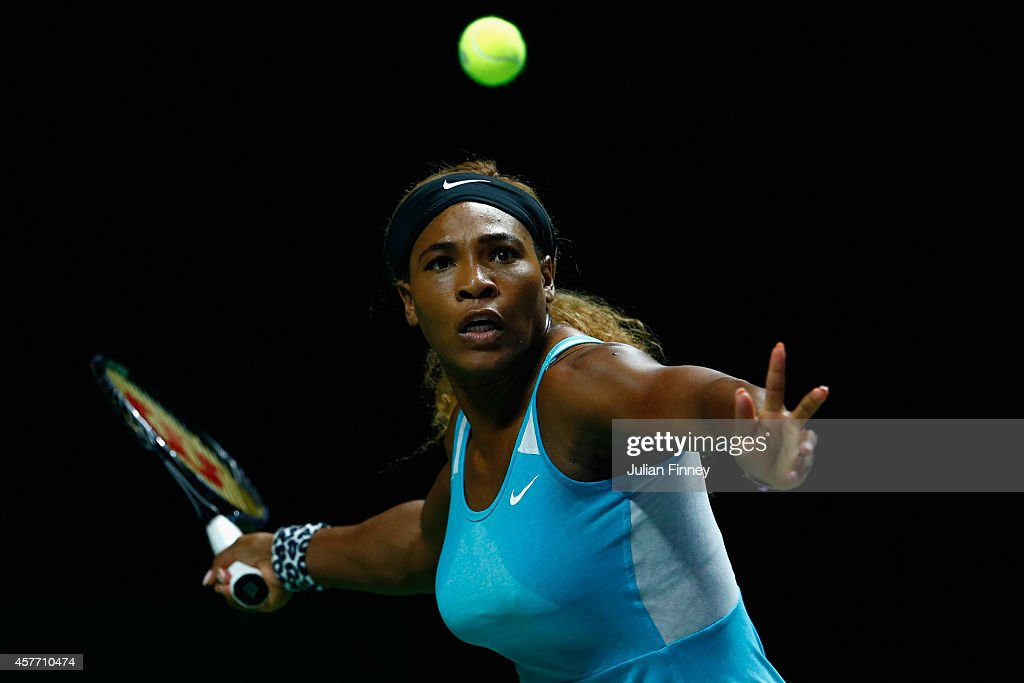 Serena Williams of USA in action in her match against Eugenie Bouchard of Canada during day four of the BNP Paribas WTA Finals tennis at the Singapore Sports Hub on October 23, 2014 in Singapore.
