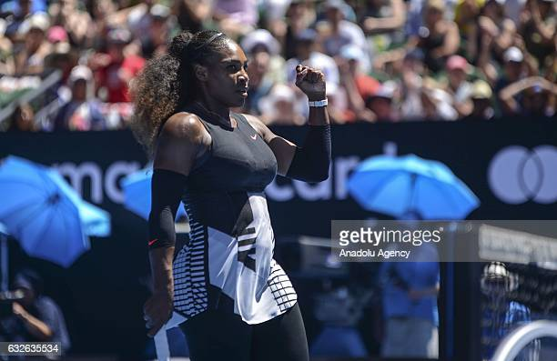 Serena Williams of USA reacts in her women's singles match against Johanna Konta of Great Britain during their Australian Open at Margaret Court...