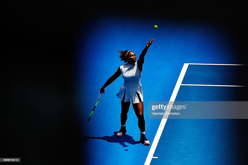 Serena Williams of USA serves during her match against Pauline Parmentier of France on day two of the ASB Classic on January 3, 2017 in Auckland, New Zealand.