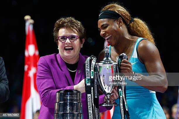 Serena Williams of USA shares a joke with Billie Jean King after her win over Simona Halep of Romania in the final during day seven of the BNP...