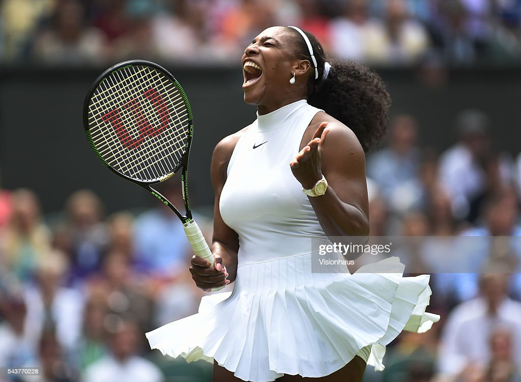<a gi-track='captionPersonalityLinkClicked' href=/galleries/search?phrase=Serena+Williams+-+Tennis+Player&family=editorial&specificpeople=171101 ng-click='$event.stopPropagation()'>Serena Williams</a> of USA shouts out with anxiety during her first round match against Amra Sadikovic of Switzerland at Wimbledon on June 28, 2016 in London, England.
