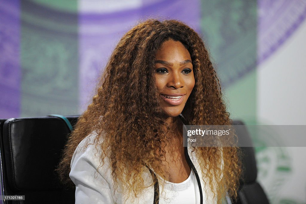 <a gi-track='captionPersonalityLinkClicked' href=/galleries/search?phrase=Serena+Williams&family=editorial&specificpeople=171101 ng-click='$event.stopPropagation()'>Serena Williams</a> of USA talks to the media during previews for Wimbledon Championships at Wimbledon on June 23, 2013 in London, England.