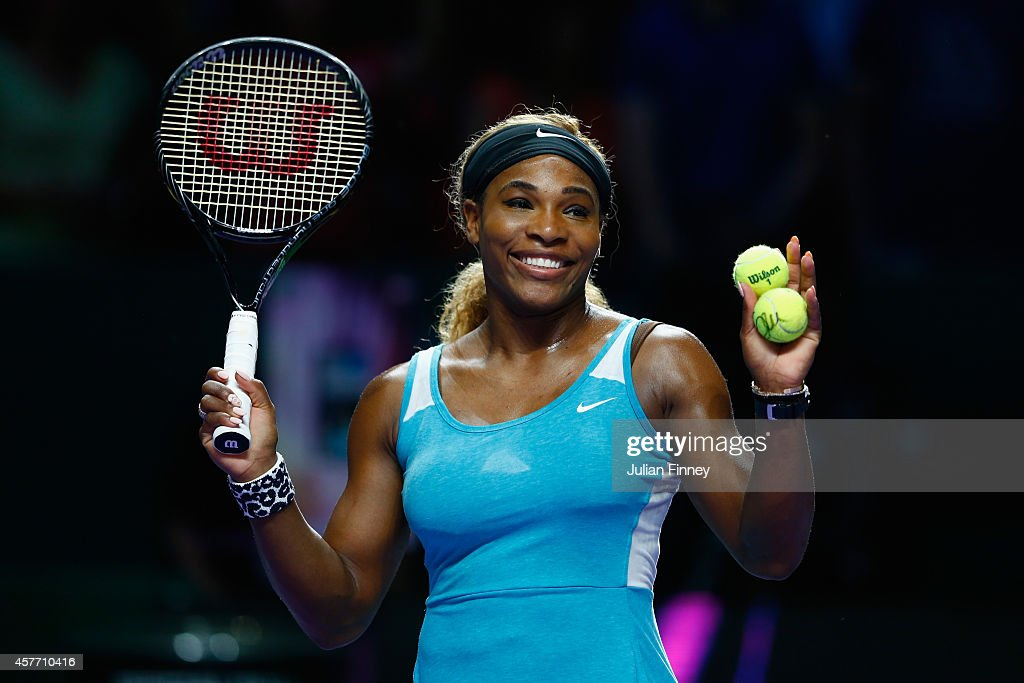<a gi-track='captionPersonalityLinkClicked' href=/galleries/search?phrase=Serena+Williams&family=editorial&specificpeople=171101 ng-click='$event.stopPropagation()'>Serena Williams</a> of USA thanks the support after her match against Eugenie Bouchard of Canada during day four of the BNP Paribas WTA Finals tennis at the Singapore Sports Hub on October 23, 2014 in Singapore.
