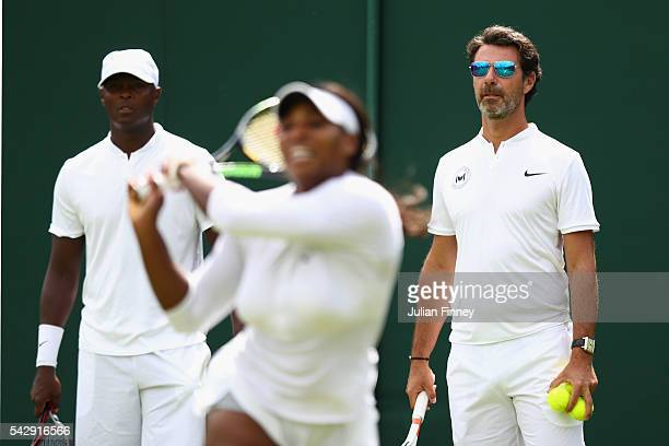 Serena Williams of USA with coach Patrick Mouratoglou during previews for Wimbledon Tennis 2016 at Wimbledon on June 25 2016 in London England
