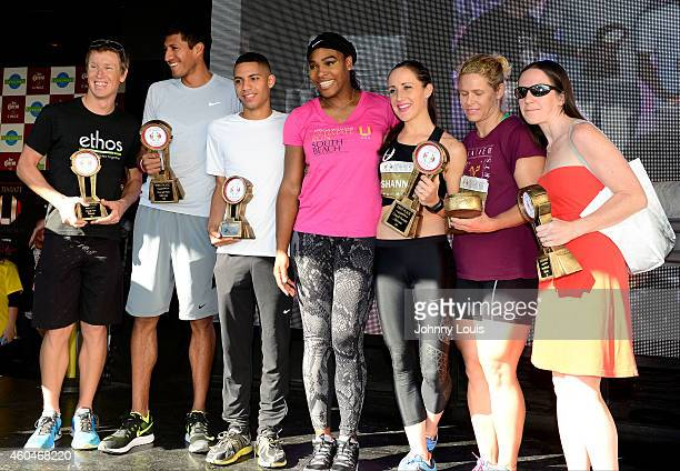Serena Williams on stage with the winner of The Serena Williams Ultimate Run karaoke afterparty and Award ceremony at Clevelander South Beach on...