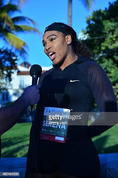 Serena Williams participates in The Serena Williams Ultimate Run on December 14 2014 in Miami Beach Florida