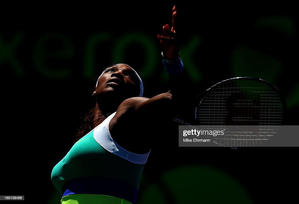 Serena Williams plays against Maria Sharapova of Russia in the final of the Sony Open at Crandon Park Tennis Center on March 30, 2013 in Key Biscayne, Florida.