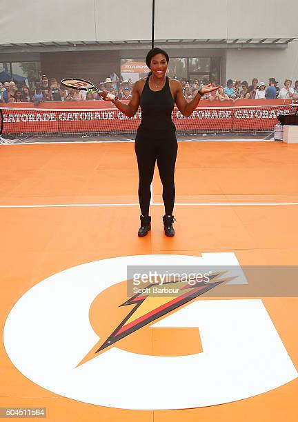 Serena Williams poses during a Gatorade activation at Ashwood Woolworths on January 11 2016 in Melbourne Australia Serena Williams the number one...