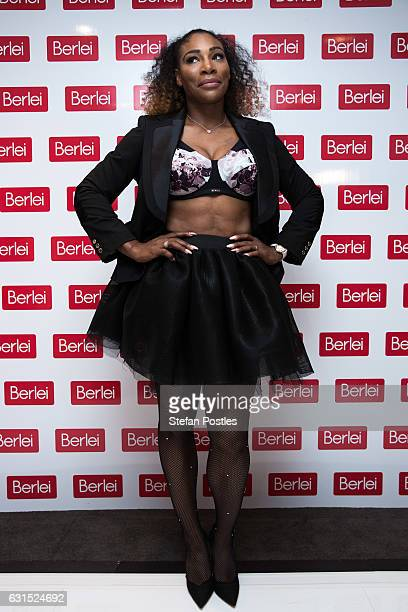 Serena Williams poses during the media opportunity at The Blackman on January 12 2017 in Melbourne Australia To unveil the new Berlei campaign and...