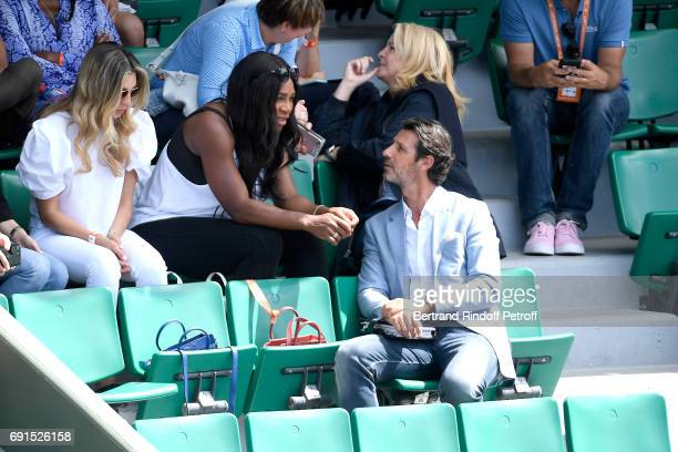 Serena Williams pregnant and French coach Patrick Mouratoglou attend Venus Williams match during the 2017 French Tennis Open Day Four at Roland...