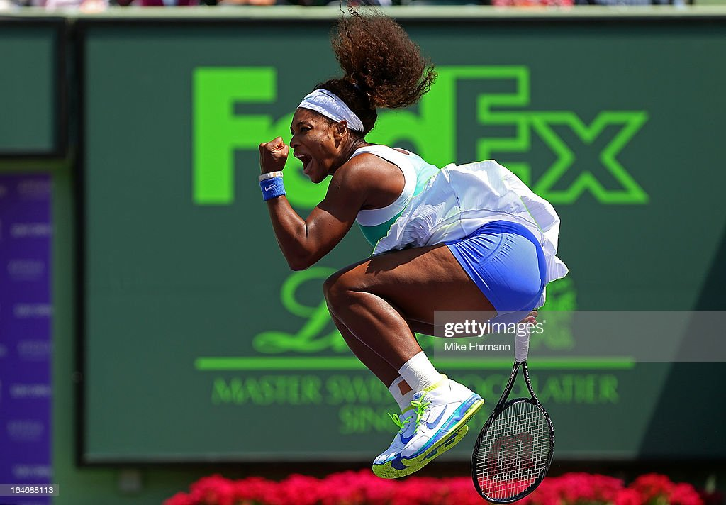 <a gi-track='captionPersonalityLinkClicked' href=/galleries/search?phrase=Serena+Williams+-+Tennis+Player&family=editorial&specificpeople=171101 ng-click='$event.stopPropagation()'>Serena Williams</a> reacts after winning a match against Li Na of China during Day 9 of the Sony Open at Crandon Park Tennis Center on March 26, 2013 in Key Biscayne, Florida.