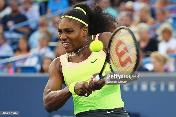 Serena Williams returns a backhand to Elina Svitolina of Ukraine during the semifinals on Day 8 of the Western Southern Open at the Lindner Family...