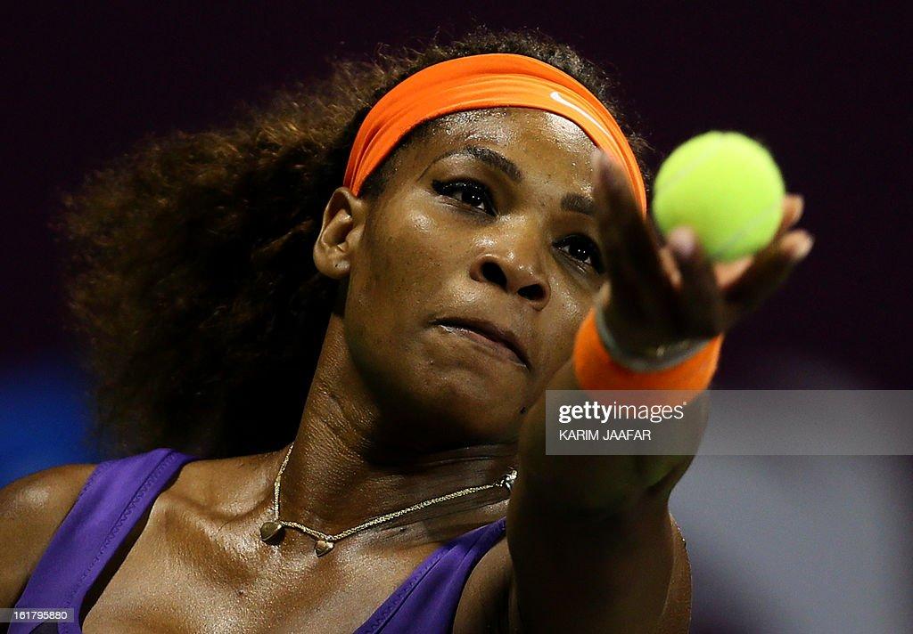 US Serena Williams serves to Russia's Maria Sharapova during their WTA Qatar Open semi-final tennis match on February 16, 2013 in the Qatari capital, Doha. Williams won 6-3,6-2.