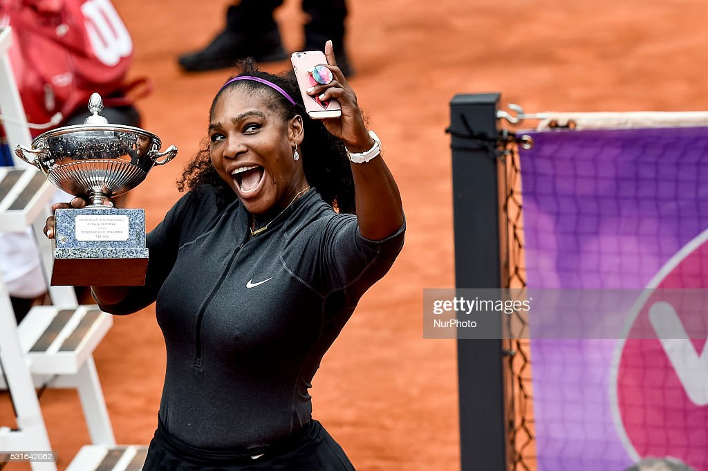 Serena Williams (USA) takes a selfie with the Internazionali d'Italia Cup for winning the WTA Final match Williams (USA) vs Keys (USA) at the Internazionali BNL d'Italia 2016 at the Foro Italico on May 15, 2016 in Rome, Italy.