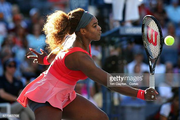 Serena Williams USA in action during her victory over Li Na China in the Women's Singles Semi Final at the US Open Flushing New York USA 6th...