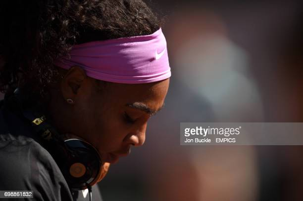 Serena Williams walks out for her match against Timea Bacsinszky in the Women's Singles Semifinals on day twelve of the French Open at Roland Garros...