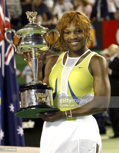 Serena Williams wins the Australian Open Womens Singles Championship defeating fellow American Lindsay Davenport in 3 sets at Melbourne Park in...