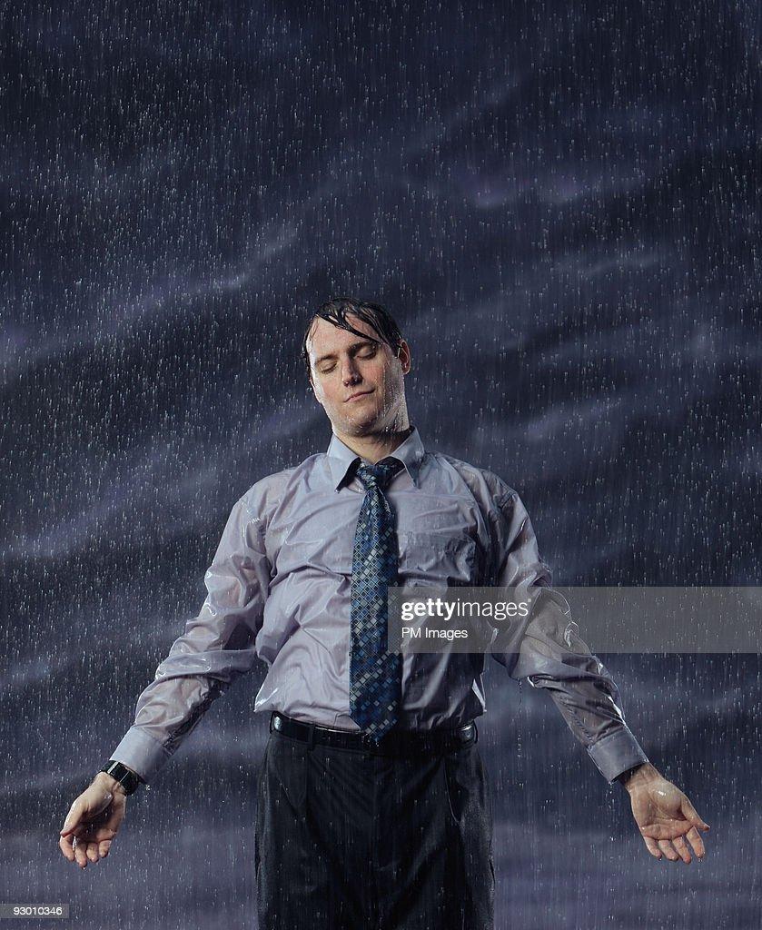 Serene Businessman in rain