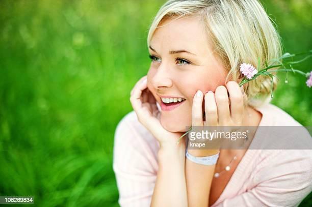 Serene laughing woman
