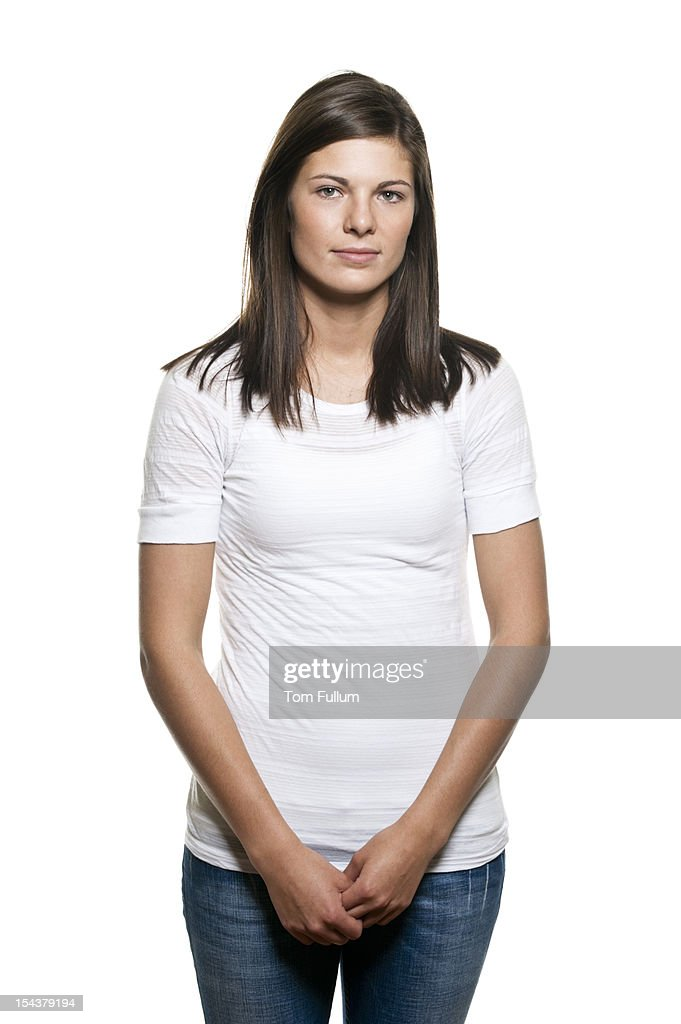 Serene Woman In Casual Clothing Stock Photo | Getty Images