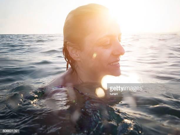 Serene Woman Swimming, Aegean sea, Akbuk, Turkey