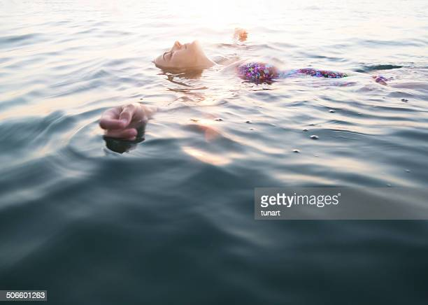 Serene Woman Swimming, Aegean sea, Akbuk, Turkey