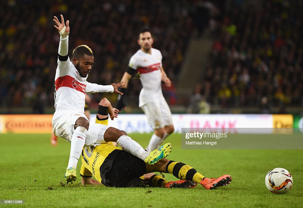 <a gi-track='captionPersonalityLinkClicked' href=/galleries/search?phrase=Serey+Die&family=editorial&specificpeople=8055910 ng-click='$event.stopPropagation()'>Serey Die</a> of Stuttgart and <a gi-track='captionPersonalityLinkClicked' href=/galleries/search?phrase=Henrikh+Mkhitaryan&family=editorial&specificpeople=6234732 ng-click='$event.stopPropagation()'>Henrikh Mkhitaryan</a> of Borussia Dortmund battle for the ball during the DFB Cup Quarter Final match between VfB Stuttgart and Borussia Dortmund at Mercedes-Benz Arena on February 9, 2016 in Stuttgart, Germany.